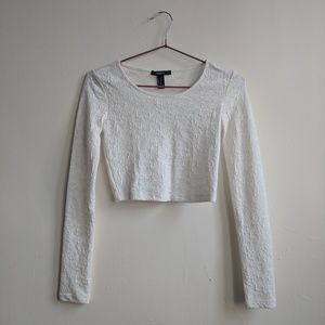 Tops - New white textured crop long sleeve top